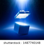 Blue Open Gift Box On...