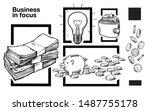 hand drawn stack of cash  piggy ... | Shutterstock .eps vector #1487755178