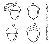 Acorn Oak Icons Set. Outline...