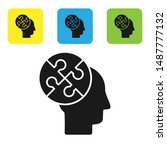 Stock vector black human head puzzles strategy icon isolated on white background thinking brain sign symbol 1487777132