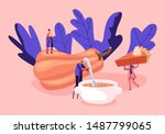 tiny male and female characters ... | Shutterstock .eps vector #1487799065