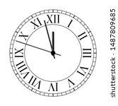 old clock on white background.... | Shutterstock .eps vector #1487809685