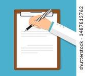 medical clipboard  vector... | Shutterstock .eps vector #1487813762