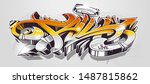 fall graffiti 3d wild style... | Shutterstock .eps vector #1487815862