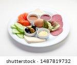 turkish breakfast on isolated... | Shutterstock . vector #1487819732