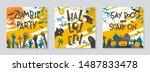 set of halloween posters with... | Shutterstock .eps vector #1487833478