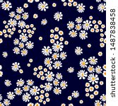 cute pattern with daisies and... | Shutterstock .eps vector #1487838458