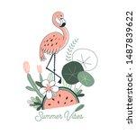 watermelon fruity flamingo... | Shutterstock .eps vector #1487839622