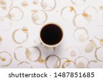 white cup of coffee on a white... | Shutterstock . vector #1487851685