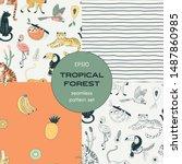 tropical forest seamless... | Shutterstock .eps vector #1487860985