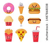 set of cute funny fast food kawaii style icons isolated on white background. illustration vector.