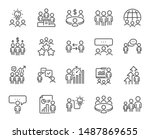 meeting line icons. conference  ... | Shutterstock .eps vector #1487869655