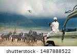 Woman Tourist On Safari Tour I...