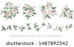 vector floral set with leaves... | Shutterstock .eps vector #1487892542