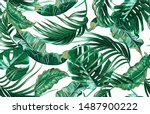 tropical palm leaves  green...   Shutterstock .eps vector #1487900222