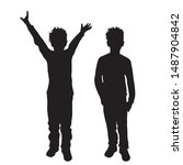 vector silhouette of children s ... | Shutterstock .eps vector #1487904842