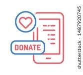 donation money flat color icon. ...