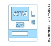 atm icon. thin line with blue...
