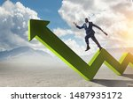 Small photo of Black smiling businessman running on green zigzag increasing arrow