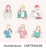 people eating different meals.... | Shutterstock .eps vector #1487946638