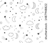 Hand Drawn Night Sky Vector...