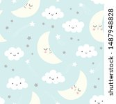 night sky vector pattern with... | Shutterstock .eps vector #1487948828
