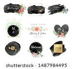 vector watercolor logo design...   Shutterstock .eps vector #1487984495