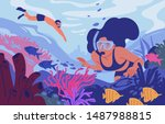 young man and woman in diving... | Shutterstock .eps vector #1487988815