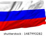 russia flag is waving in the... | Shutterstock . vector #1487993282