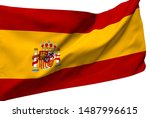 spain flag is waving in the... | Shutterstock . vector #1487996615