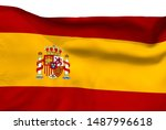 spain flag is waving in the... | Shutterstock . vector #1487996618