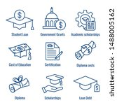 student loans icon set with... | Shutterstock .eps vector #1488005162