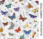 butterflies and wild flowers.... | Shutterstock .eps vector #1488017018