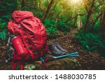 Red Backpack  Hiking Boots ...