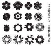 flower set icon on white... | Shutterstock .eps vector #1488038132