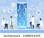 human genome study flat vector... | Shutterstock .eps vector #1488041405