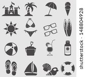 Beach icon set.Vector