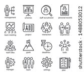 management vector linear icons... | Shutterstock .eps vector #1488053012