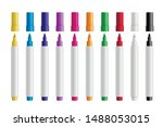 colorful marker pens set vector ... | Shutterstock .eps vector #1488053015