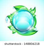 blue glossy sphere on green... | Shutterstock .eps vector #148806218