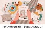 hands holding paper sheet with... | Shutterstock .eps vector #1488092072
