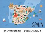 map of spain with touristic... | Shutterstock .eps vector #1488092075