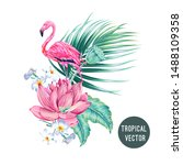 pink flamingo  gentle flowers ... | Shutterstock .eps vector #1488109358