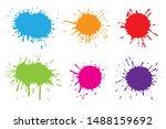 hand drawn paint splatters...   Shutterstock .eps vector #1488159692