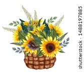 Watercolor Basket With...