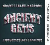 ancient gems 3d alphabet font.... | Shutterstock .eps vector #1488198422