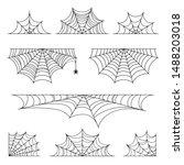 set of spider web for halloween.... | Shutterstock .eps vector #1488203018