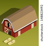 agriculture,bail of hay,barn,building,building vector,countryside,doors,farm,haystacks,isometric,red,roof,rustic,stable,storage building