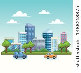 city with buildings and cars on ... | Shutterstock .eps vector #1488258875