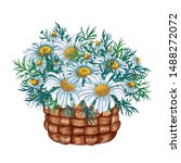 Watercolor Basket With Flower...
